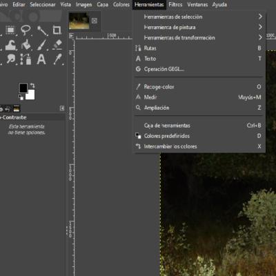 Menú de herramientas de GIMP
