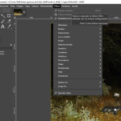 Menú de filtros de GIMP