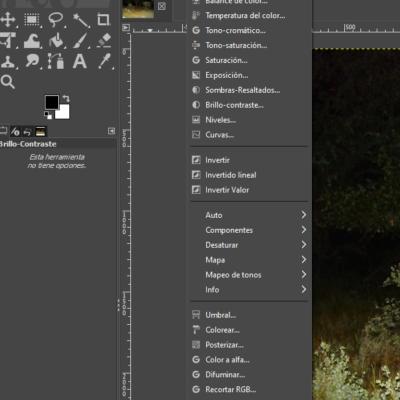 Menú principal de GIMP donde modificar colores, saturación, brillo, contraste, etc. de la imagen.
